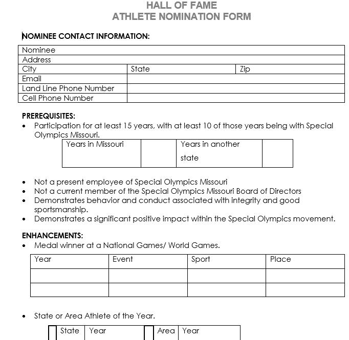 HOF Application Athlete