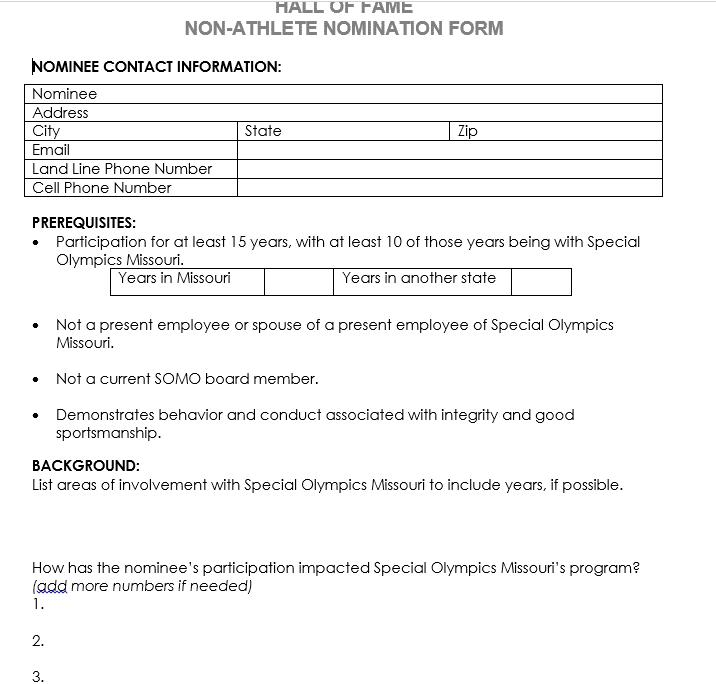 HOF Application Non Athlete