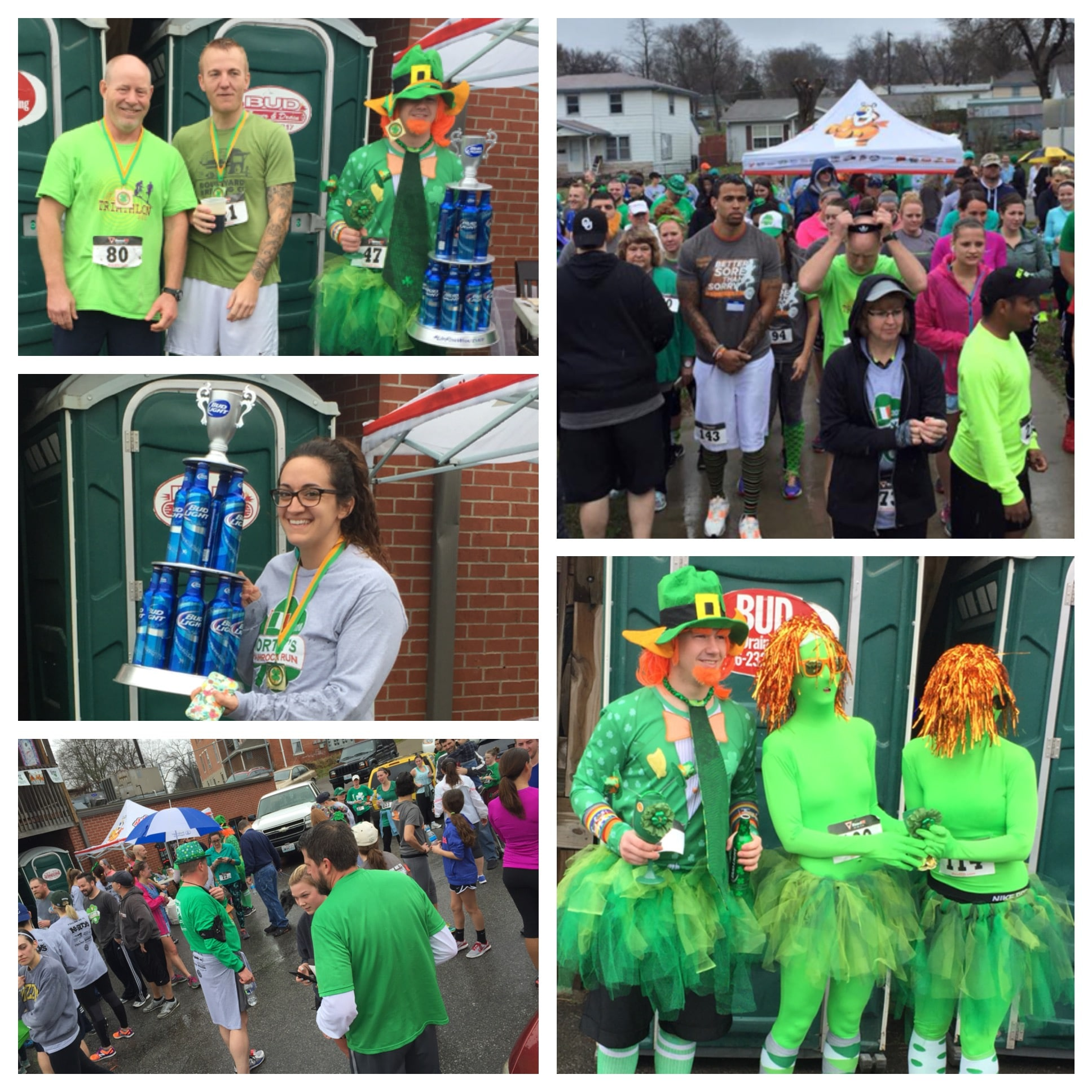 A collection of photos showing people participating in a St. Patrick's Day event