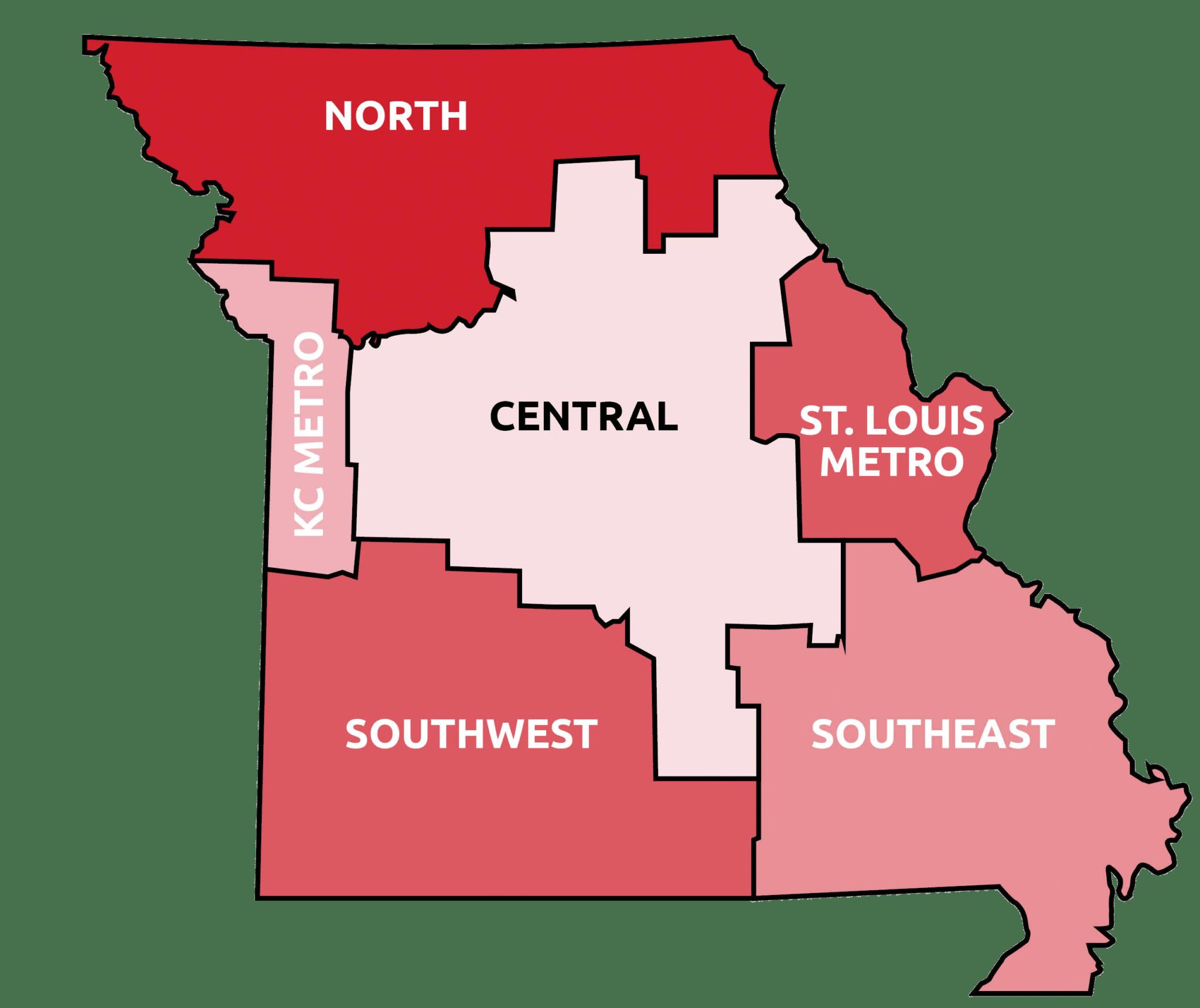 Missouri County Breakdown Map