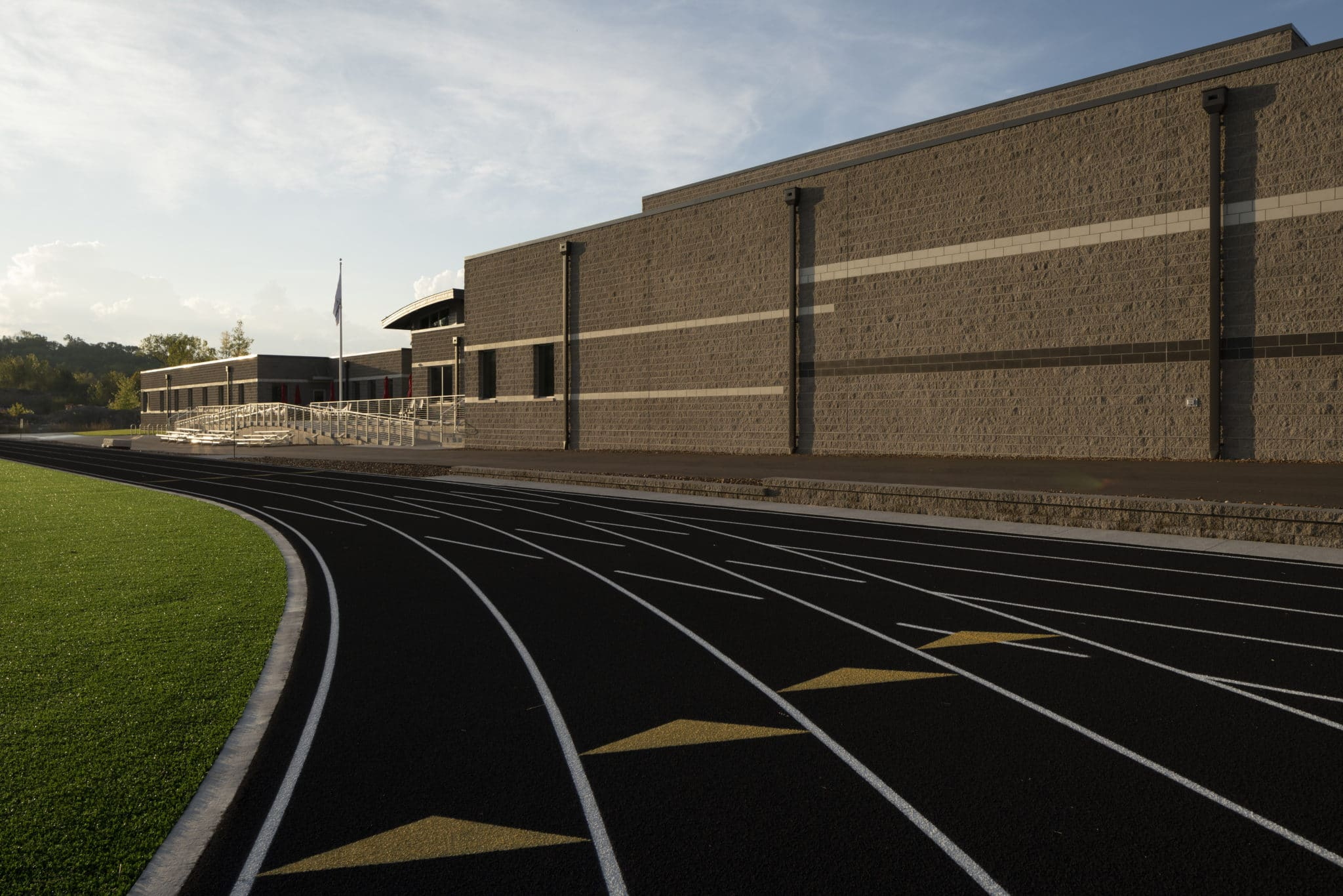 An exterior photo of the track at the Training for Life Campus