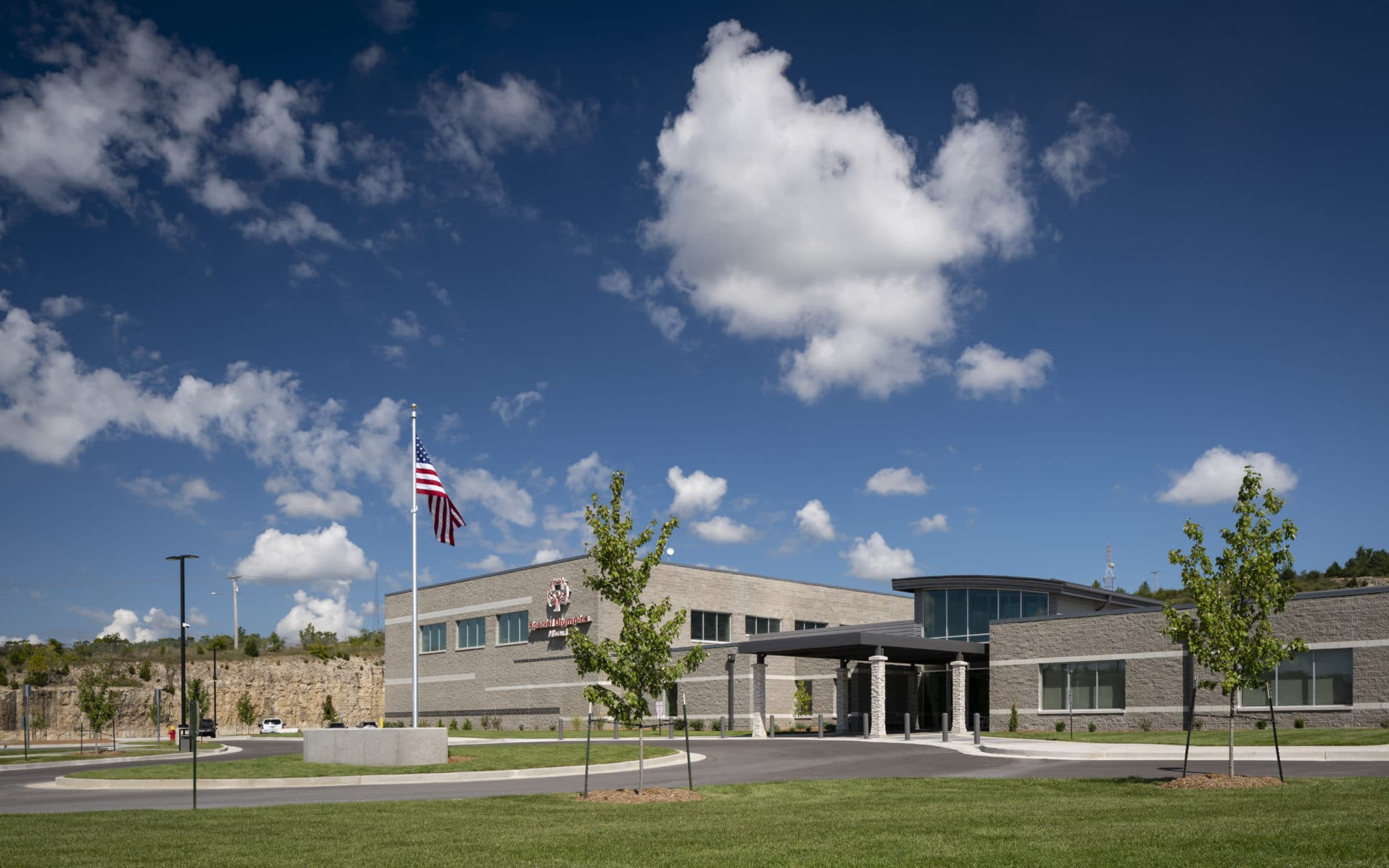 An exterior photo of the front entrance of the Training for Life Campus