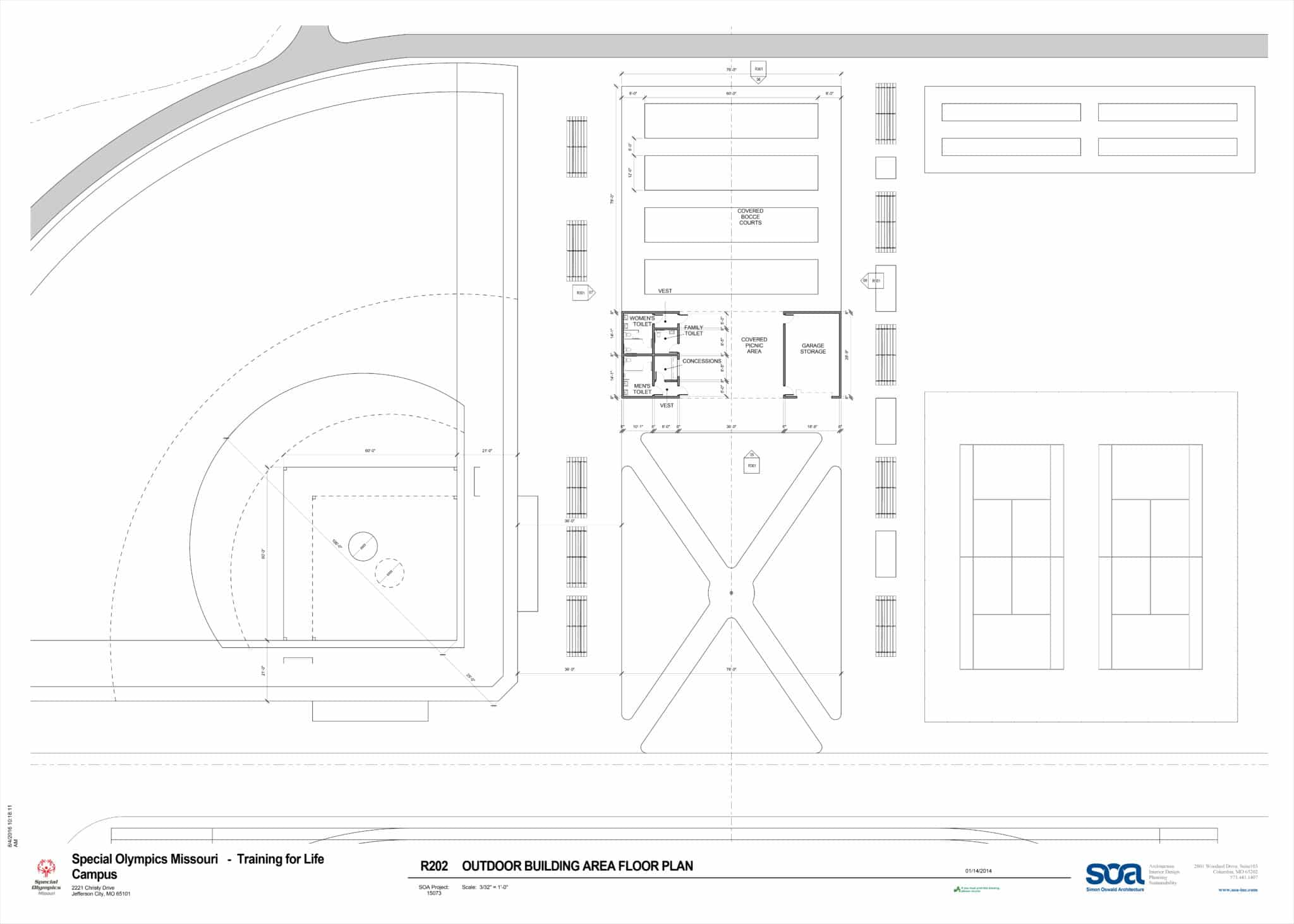Blueprint of the outdoor facilities at the Training for Life Campus