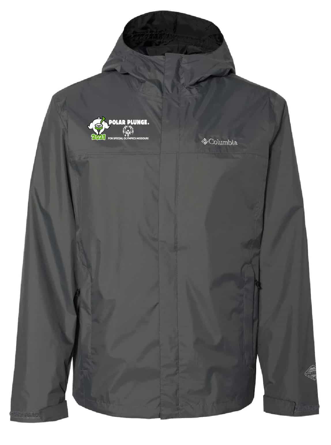 A gray jacket with a 2021 Polar Plunge logo on it