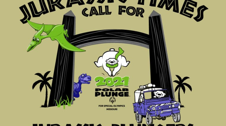 2021 Polar Plunge logo with a Jurassic Park theme