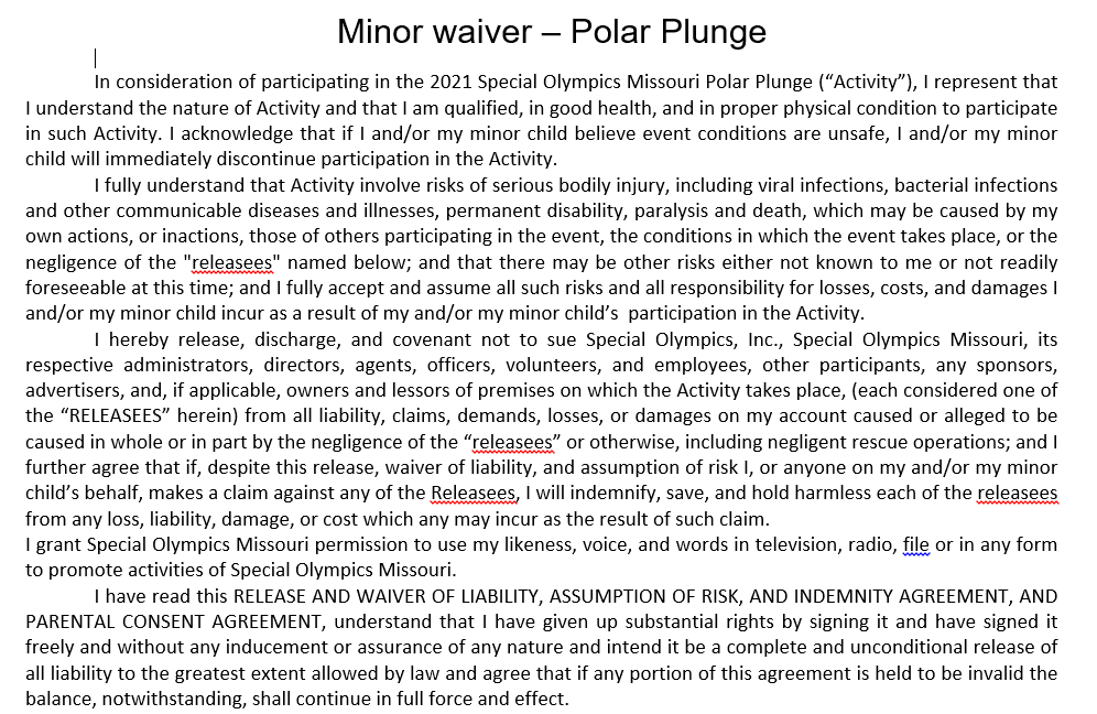 2021 Plunge Minor Waiver