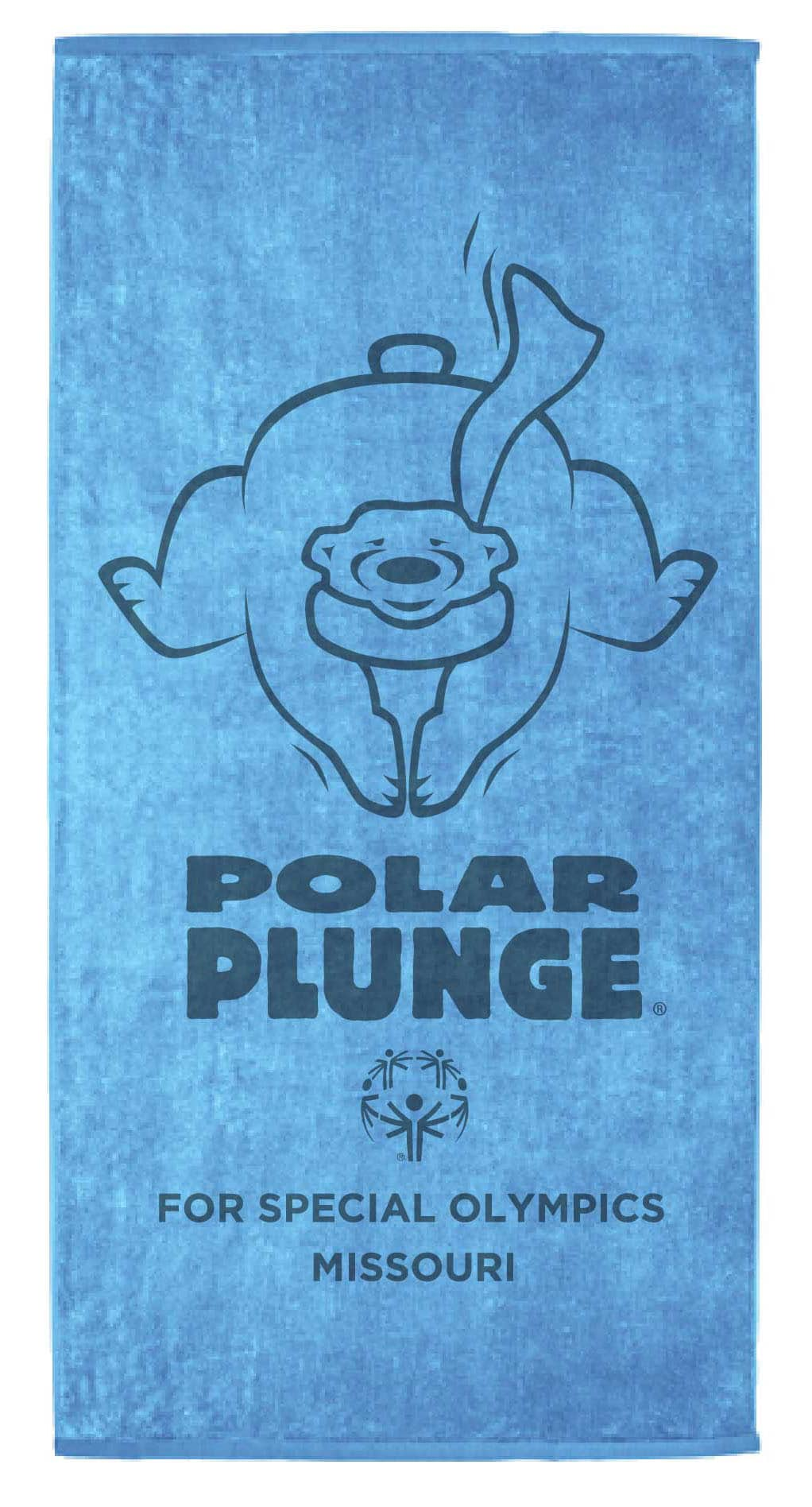 A blue towel with the Polar Plunge logo on it