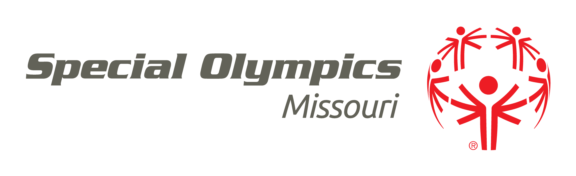 Special Olympics Missouri logo Red and Gray (Horizontal two lines)