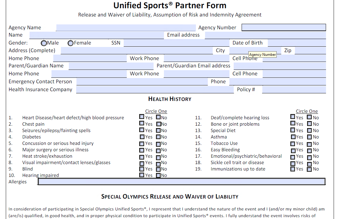 Unified Sports Partner Form