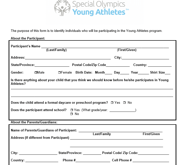 Young Athletes Form
