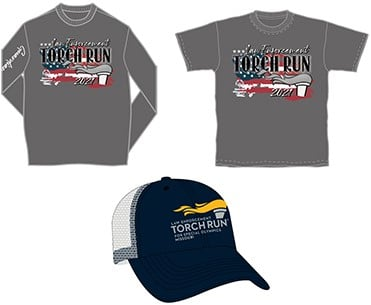 Two gray T-shirts and a blue hat with the Law Enforcement Torch Run logo on all three