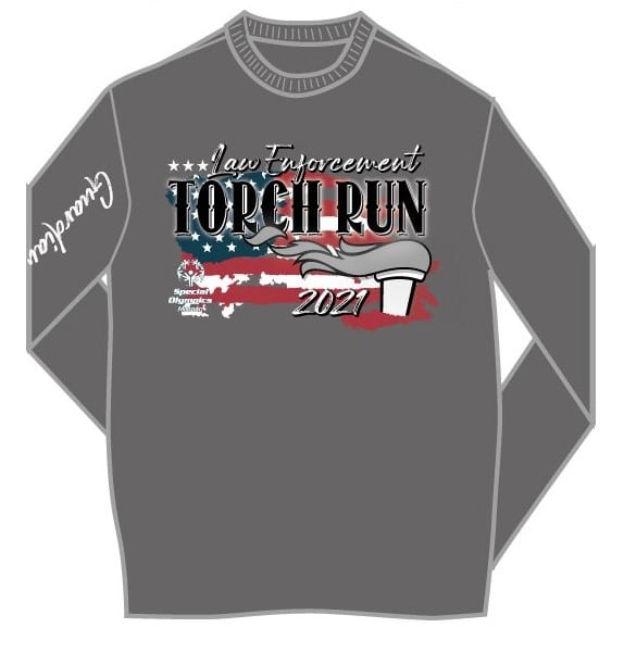 Gray long sleeve T-shirt with 2021 Law Enforcement Torch Run logo and torch with an American flag