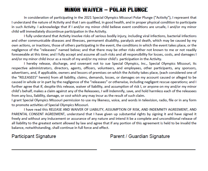 2021 Plunge Minor Waiver