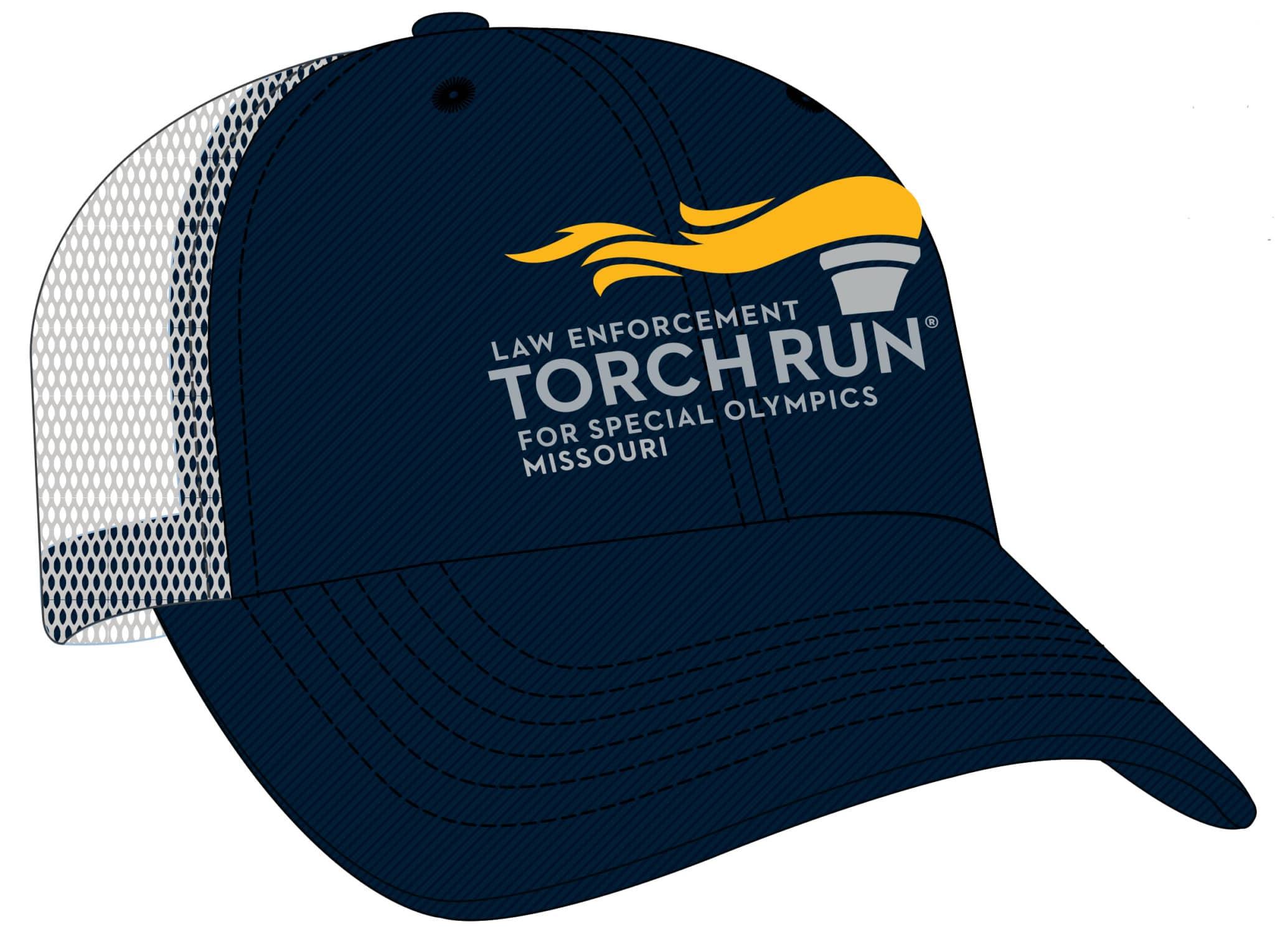 Dark blue hat with Law Enforcement Torch Run logo on it