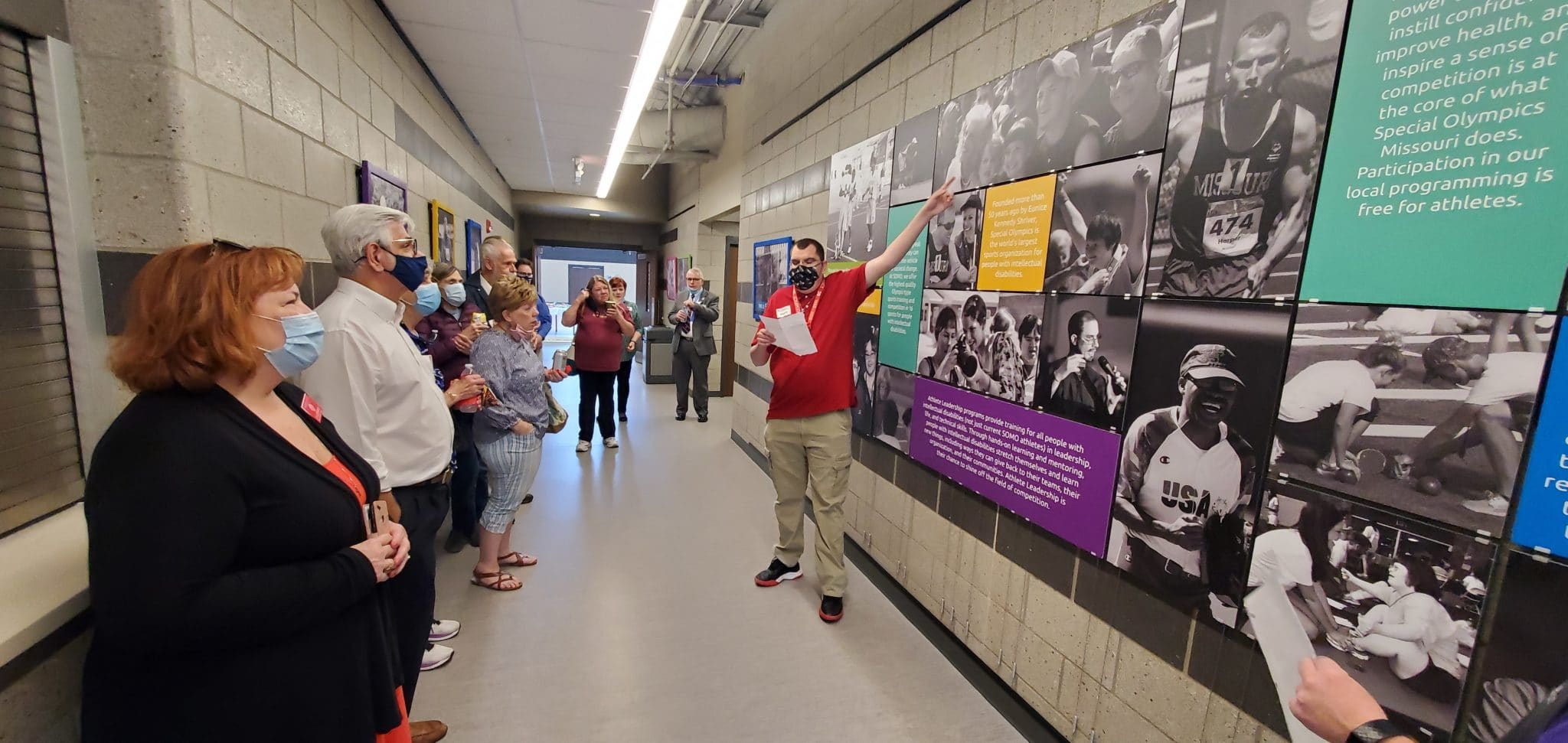 Training for Life Campus host Michael Mohrmann, right, leads part of the tour April 25 when some 120 Knights of Columbus members visited Special Olympics Missouri.