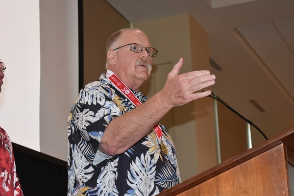 Kansas City Chiefs Head Coach Andy Reid speaks to a crowd of Special Olympics Missouri supporters on June 10 at Arrowhead Stadium.