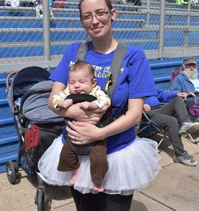 Montgomery City mom wears a tutu to her daughter's Special Olympics competitions.