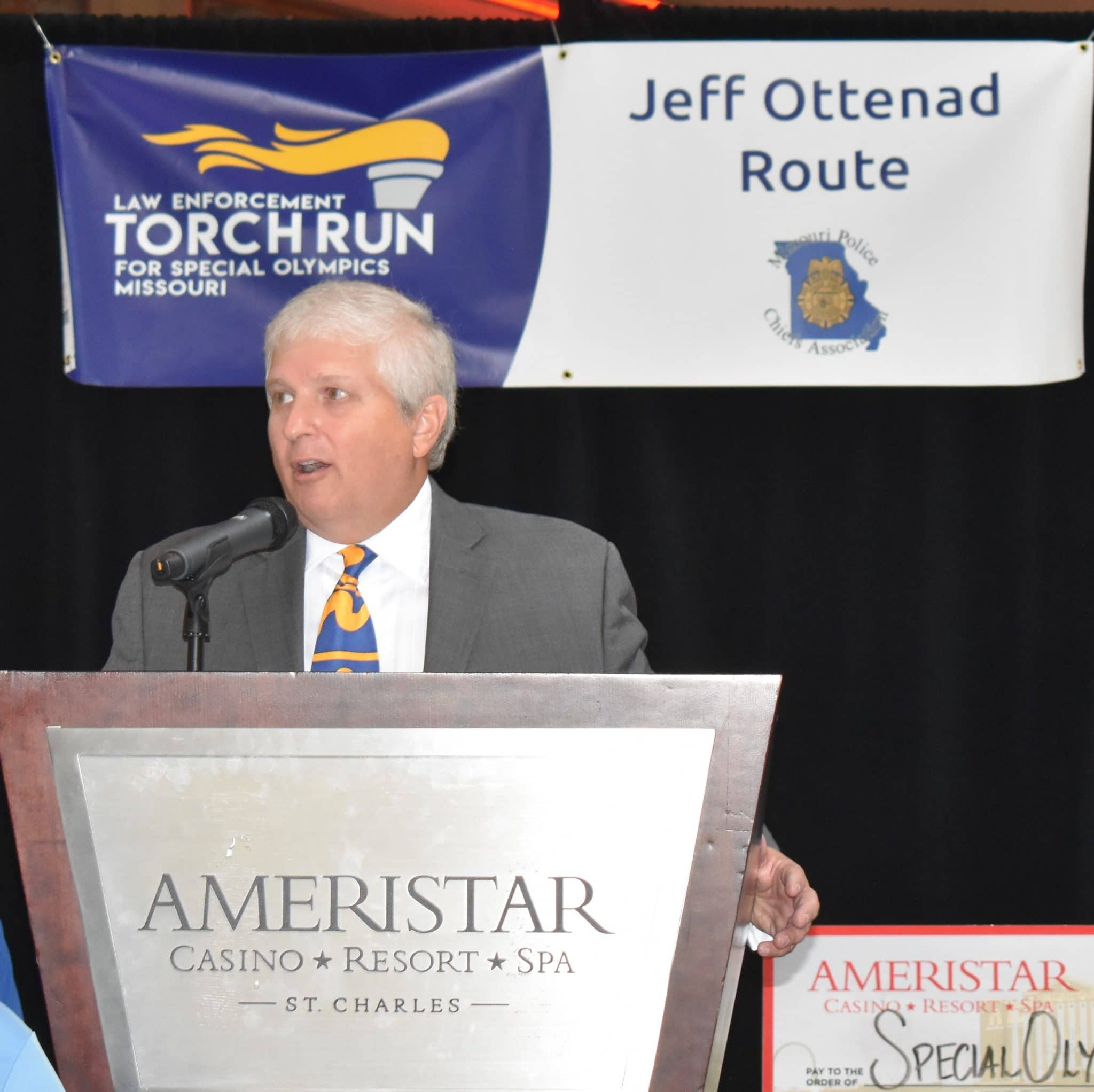John Ottenad speaks at the opening ceremony for the Law Enforcement Torch Run for Special Olympics Missouri May 25 in St. Charles.