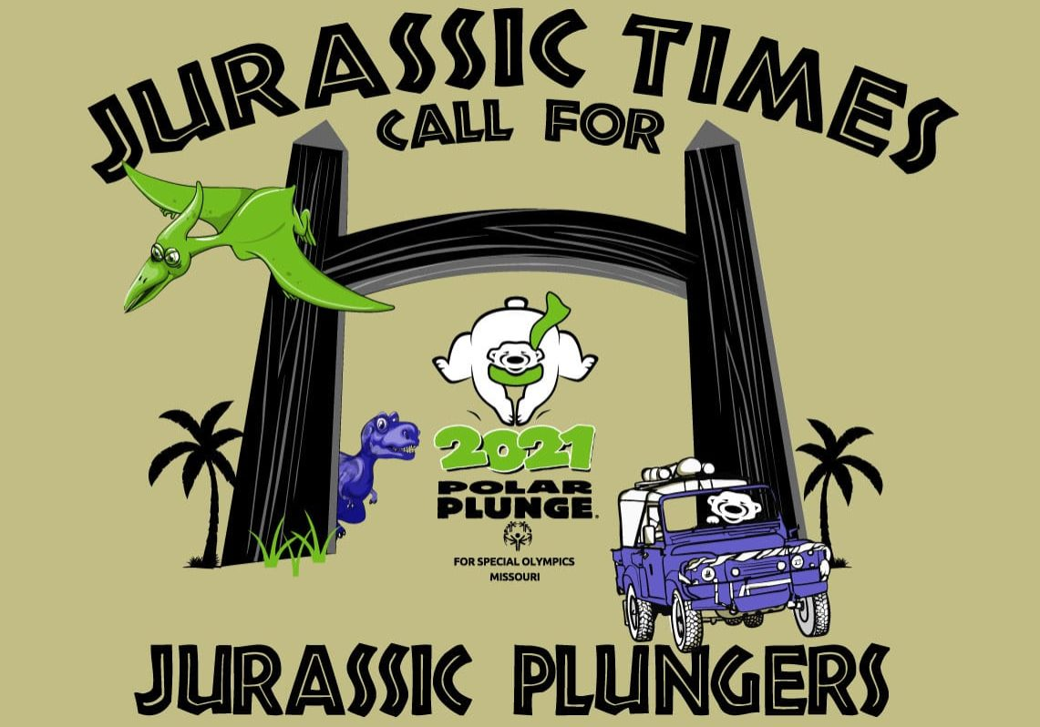 2021 Polar Plunge logo with a Jurassic Park theme